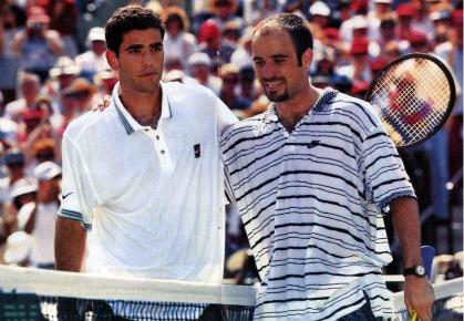 1995年の全豪オープンの2人(サンプラス選手、アガシ選手)